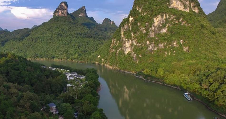 Panoramablick, Li River Resort, Yangshuo, China Rundreise